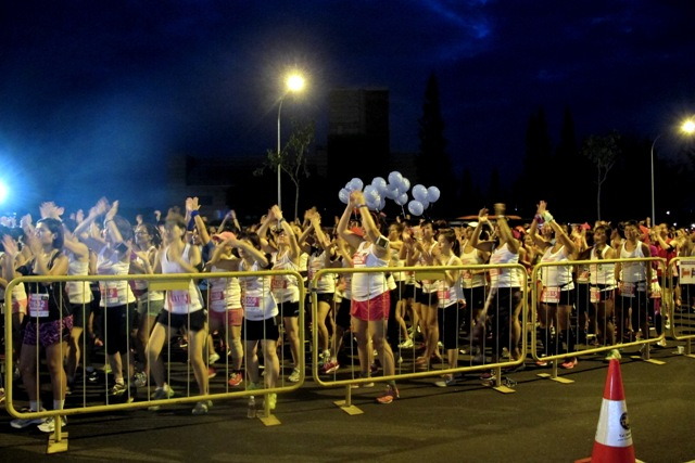 Runners warming up